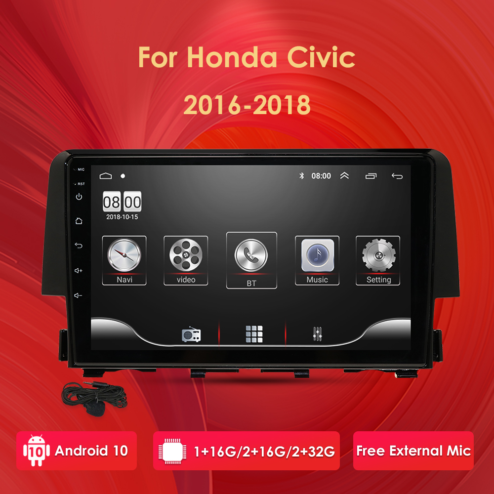 Car Radio Multimedia Video Player Navigation GPS Android 10 2 din nodvd for Honda <font><b>Civic</b></font> 2016 2017 2018 swc dvbt tpms dab obd bt image