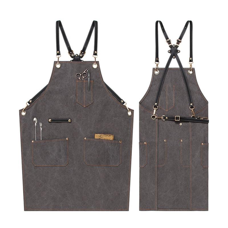 Ev ve Bahçe'ten Önlükler'de Tuval önlük inek derisi deri kayış Barista barmen Baker üniforma berber çiçekçi kuaför bahçıvan ressam iş elbisesi E46 title=