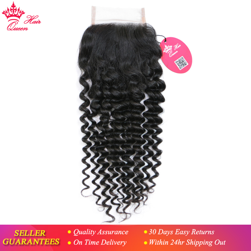 Queen Hair Products Brazilian Virgin Hair Deep Wave 4x4 Swiss Lace Closure 10 20 Natural Color