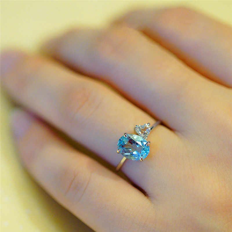 Delicado chicas lindo Aqua piedra azul anillos finos para mujeres plata BLANCO CRISTAL corazón anillo alianzas de boda anillo de apilamiento diario joyería