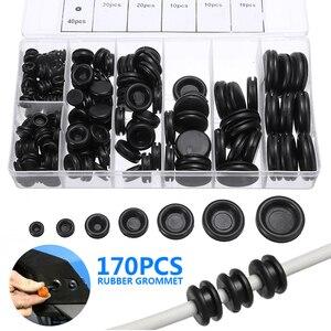 170 шт 7-25 мм черный закрытый уплотнительное кольцо прокладки авто электрический кабель проводки Комплект прокладок резиновая вилка с пласти...