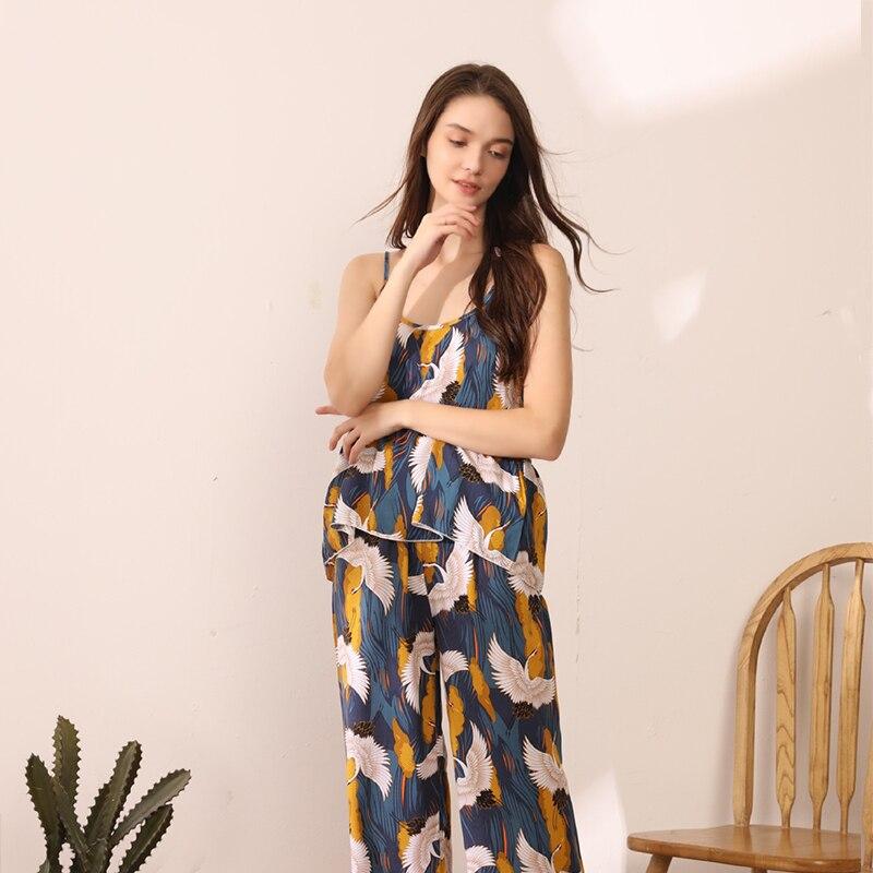 JULY'S SYJJF Plus Size Women's Pajamas Sets Elegant Sexy Sleeveless Slings Pants Homewear Soft Casual Animal Print Sleepwear