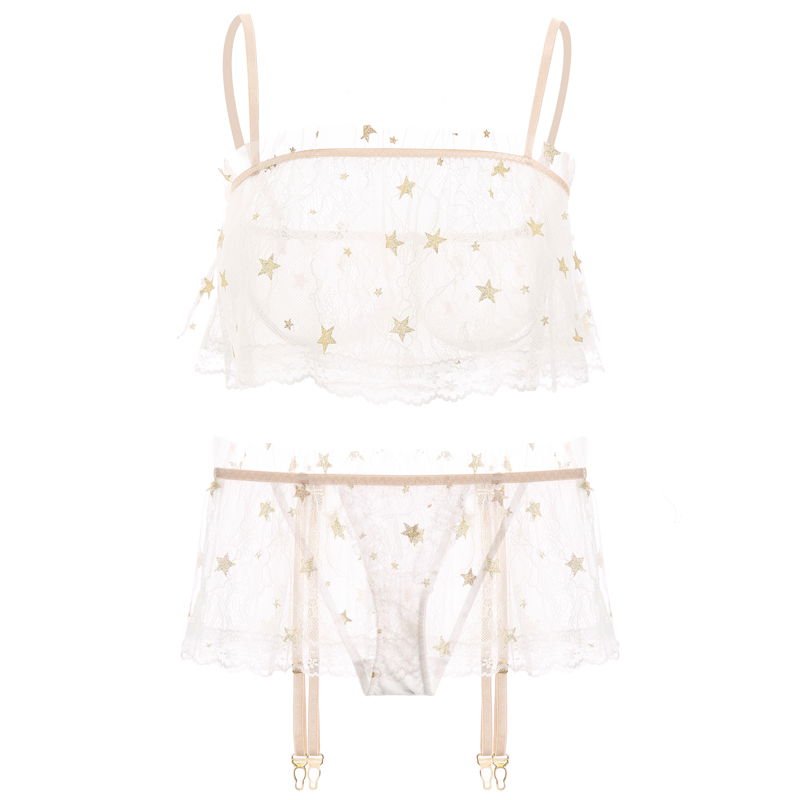 Image 5 - French Embroidery Sexy Pajamas for Women Underwear Lace Star Mesh Ultra thin Bra and Panty Garter Set Transparent BrassiereBra & Brief Sets   -