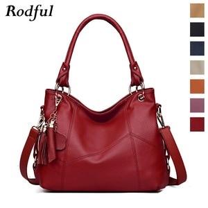 Image 1 - Fashion large tote shoulder bag women A4 leather handbags tassel big crossbody hand bags ladies red purple creamy white beige