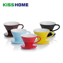 Ceramic Coffee Dripper Engine V60 Style Coffee Drip Filter Cup Permanent Pour Over Coffee Maker with Separate Stand for 1-4 Cups недорого