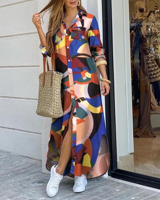 CN975 Fashionable Shirt-style Button Dress Ladies Casual Long Street Dress Large Size Loose Home Commuter Print Dress Women 4