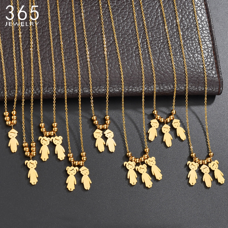Personalized Stainless Steel Boy Girl Kids Pendant Necklace Women Child Engraved Name Date Beads Necklace Family Jewelry(China)