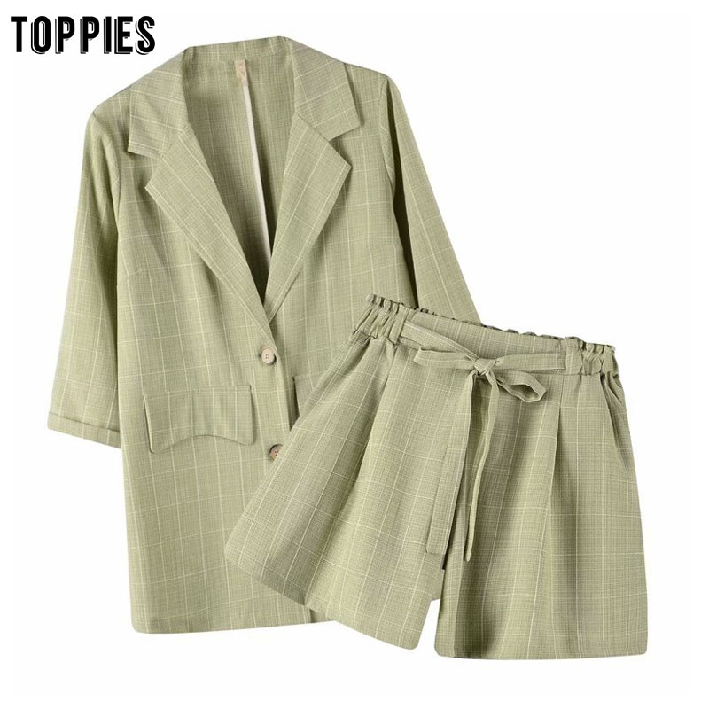 Toppies Two Peice Set Womens Suits Summer Leisure Sets Ladies Blazer Jackets High Waist Shorts Pants Short Set