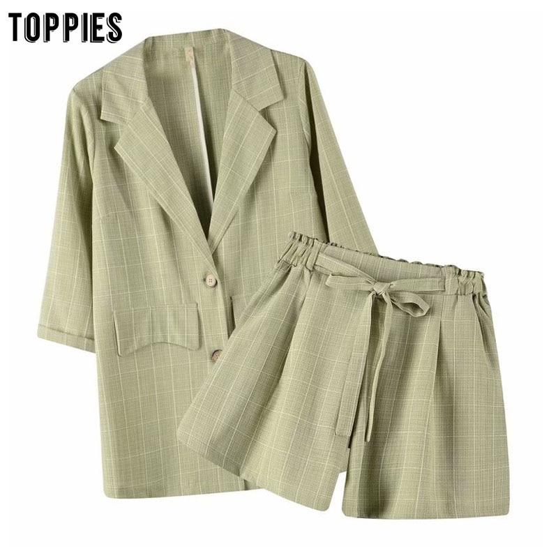 Toppies Two Peice Set Womens Suits Summer Leisure Sets Ladies Blazer Jackets High Waist Shorts Pants Short Set