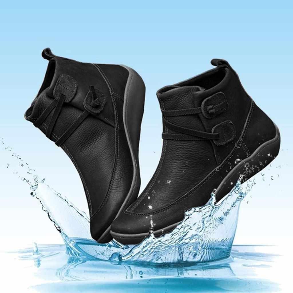 Kadın Vintage deri çizmeler düz su geçirmez ayakkabı kış yuvarlak ayak yarım çizmeler kadın bot ayakkabı platform ayakkabılar kadın botları