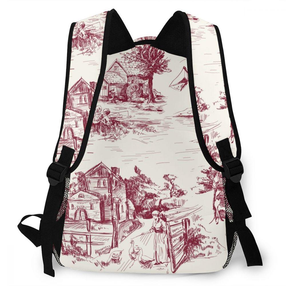 clássico cidade francesa toile feminino saco de escola meninas saco de viagem