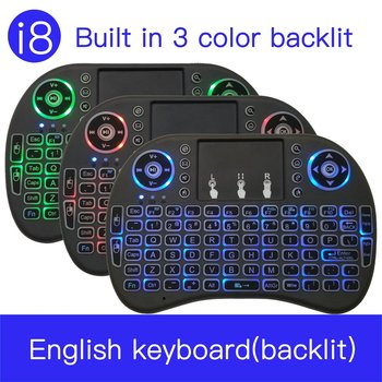 цена на 7 color backlit i8 Mini Wireless Keyboard 2.4ghz English Russian 3 colour Air Mouse with Touchpad Remote Control Android TV Box