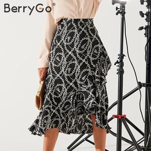 Image 2 - BerryGo zarif zincir baskı midi etekler womens asimetrik dantel up uzun mini etek kadın 2020 bahar yaz OL bayanlar etekler