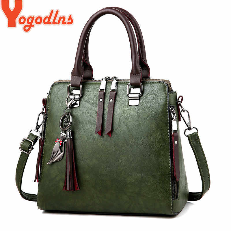 Yogodlns Vintage Leather Women's HandBags Ladies Messenger Bags Totes Tassel Designer Crossbody Shoulder Bag Boston Hand Bags