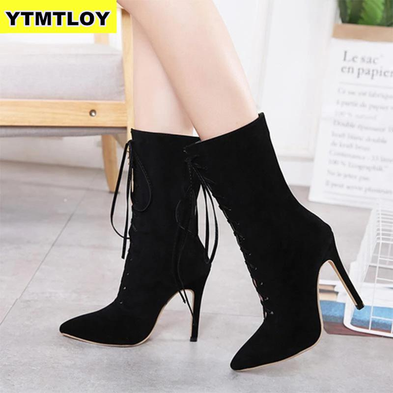 Size 36-41 New Punk Women Ankle Boots Lace Up Pointed Toe High Heel Black Chelsea Pumps 11cm Shoes For Women  Black High Heel 98