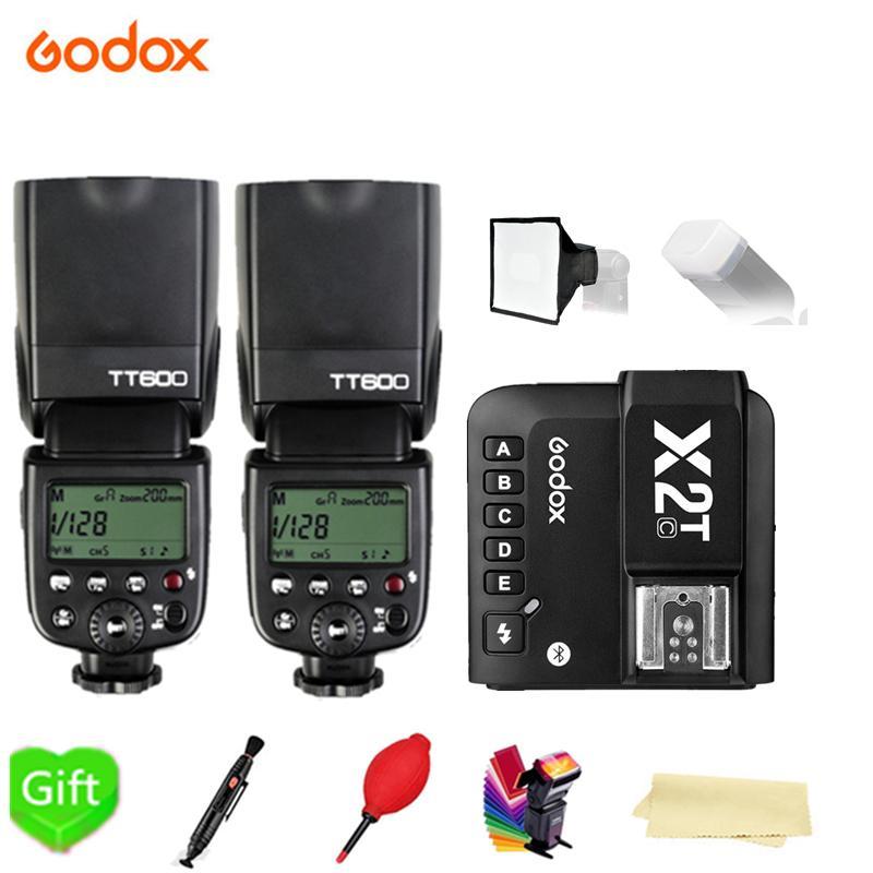 2X Godox TT600 TT600S 1/8000s Вспышка Speedlite 2,4 г Беспроводной + X2T-C/N/S/F/O/P вспышка триггера для цифровой зеркальной камеры Canon Nikon Sony Fuji Olympus
