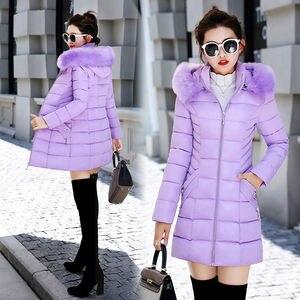 Image 2 - Winter Toevallige Bovenkleding Jassen Vrouwen New Fashion Koreaanse Style Capuchon Met Bont Warm Thicken Parka Vrouwen Lange Jassen P112