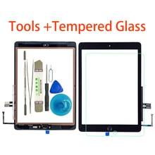 Novo para ipad 9.7 (versão 2018) digitalizador de tela touch screen de 6 ° gen, a1893 a1954, com botão de início, + ferramentas + vidro temperado