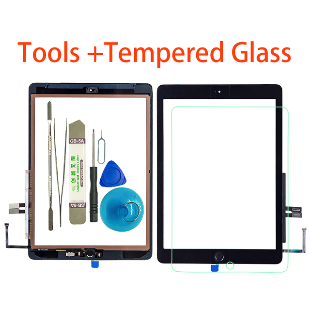 New For iPad 9.7 (2018 Version)  6 6th Gen A1893 A1954 Touch Screen Digitizer  Glass With Home Button +Tools+Tempered Glass