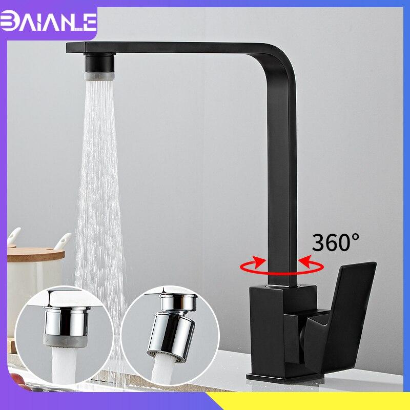 Смесители для кухни из черной латуни с 2 выходными режимами, смеситель для кухонной мойки, смеситель с поворотом на 360, с одной ручкой, с
