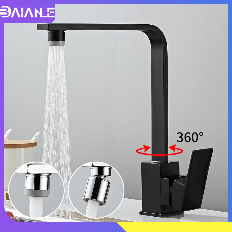 Kitchen Faucets Black Brass 2 Effluent Modes Kitchen Sink Faucet Mixer 360 Rotate Single Handle Single Hole Hot Cold Water Tap