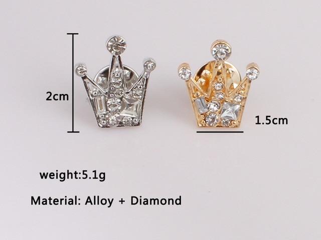 Coréen rétro simple personnalité alliage cristal mini couronne hommes et femmes broche