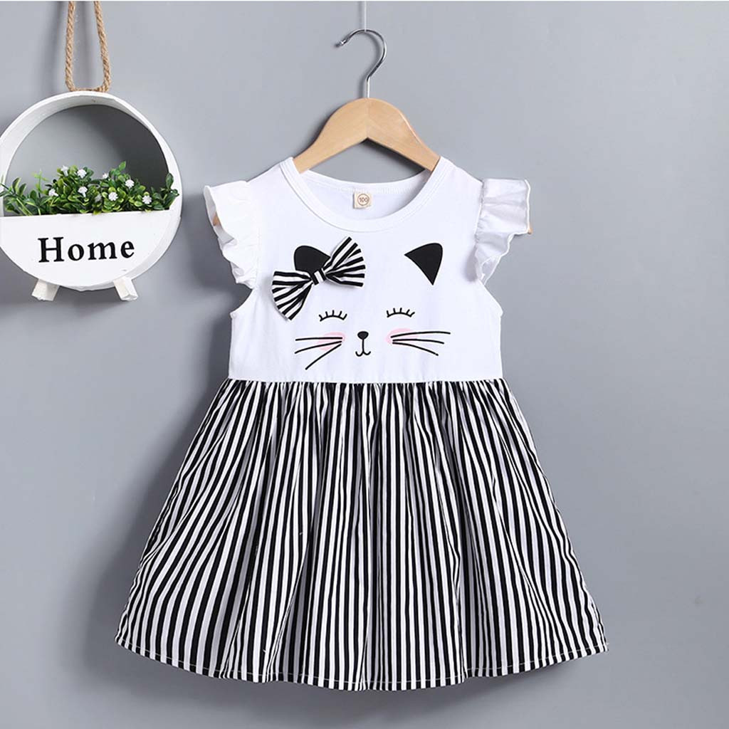 Новинка лета 2021, модное платье принцессы в полоску для маленьких девочек, без рукавов, с изображением кошки, одежда, оптовая продажа, Бесплат...