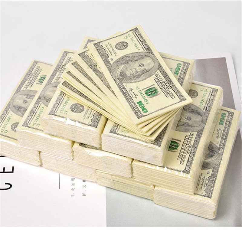 100 Dollars Napkin Our Dollar Bill Money Paper Towel Party Delicate Gift 10 Pieces Disposable Napkins Wedding Party Birthday
