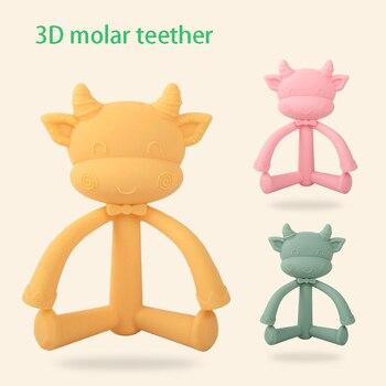 цена на Silicone Cute 3D Cow Sheep Teethers DIY Baby Ring Teether BPA Free Infant Cute Cartoon Chew Charms Food Grade Kids Teething Toy