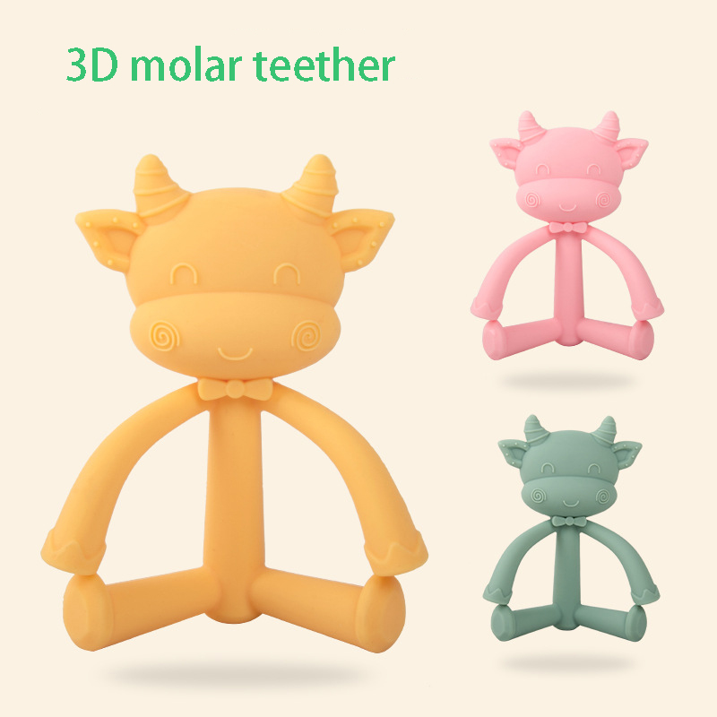 Silicone Cute 3D Cow Teethers DIY Animal Baby Ring Teether BPA Free Infant Cute Cartoon Chew Charms Food Grade Kids Teething Toy