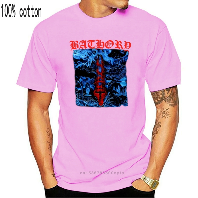 Otantik BATHORY kan buz albümü kapağı Art 1996 siyah Metal T-Shirt S-3XL yeni pamuk düşük fiyat en Tee genç erkek T Shirt