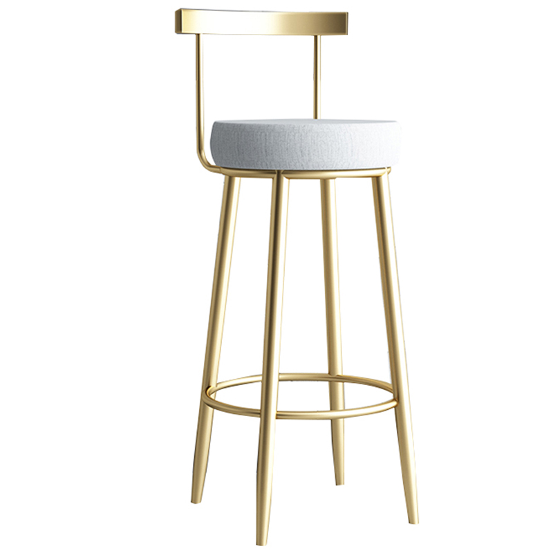 Bar Chair Northern Europe Net Red Gold Simple Modern Bar Milk Tea Coffee Shop Light Luxury Household Iron Stool