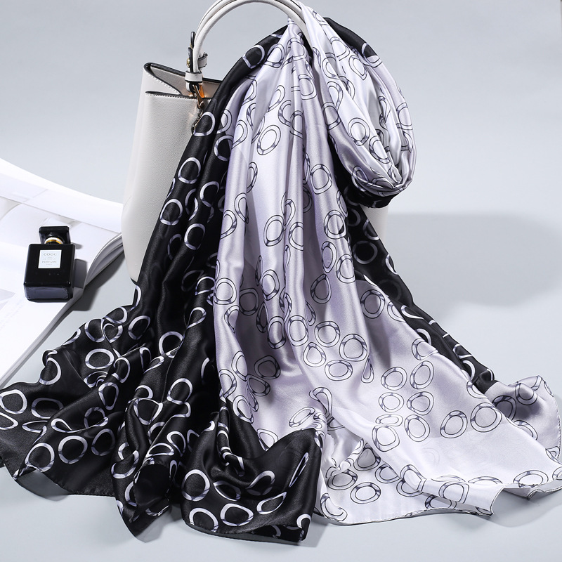 Luxury 2020 Spring New <font><b>Silk</b></font> <font><b>Scarf</b></font> For Women/Ladies Fashion Long Shawls and Wraps All-Match Satin <font><b>Scarves</b></font> foulard soie <font><b>180*90CM</b></font> image