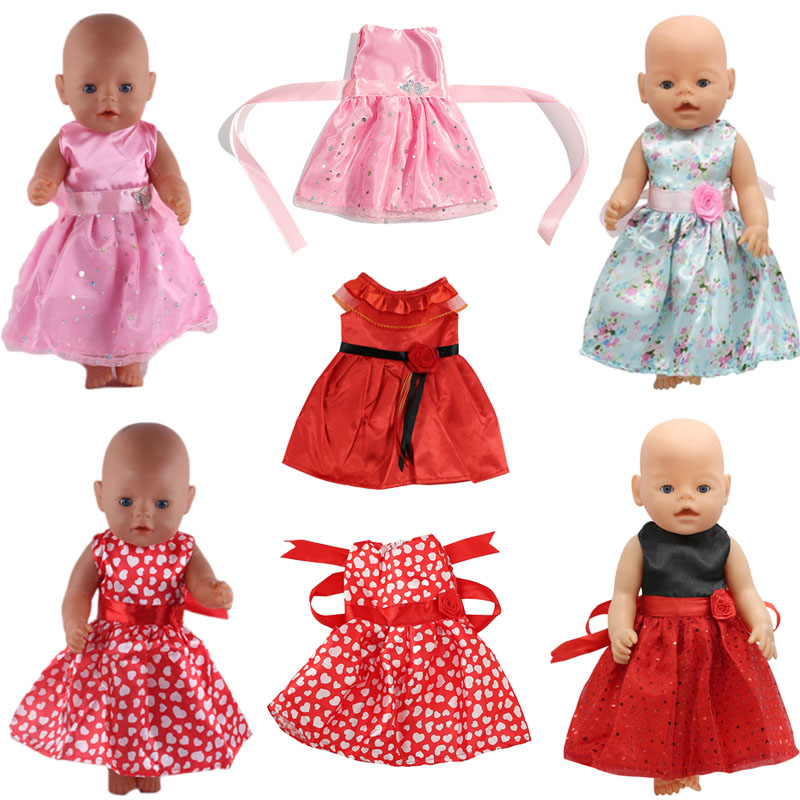 Sleeveless Dress With Belt Bow Waist Various Colors Dress  For 18 Inch American Doll 43cm Baby Doll Clothes, Generation, Gift
