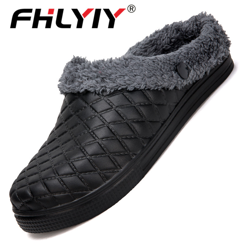 Fhlyiy Brand Winter Men Slippers Indoor Plush Warm Slippers Mules Clogs Shoes Flip Flops Hollow Hotel Slippers Mens Slides