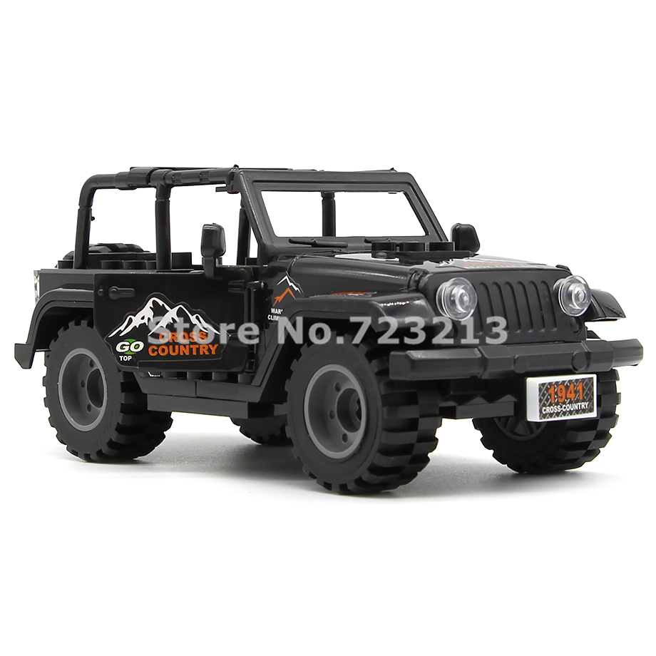 Black Car Jeep Accessories MOC SWAT City Military Building Blocks Model Brick Educational Kits Toys For Children Legoing