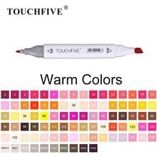 Touchfive cores quentes marcadores de arte dupla ponta álcool base escova canetas interior animação vestuário ilustração gráfico design