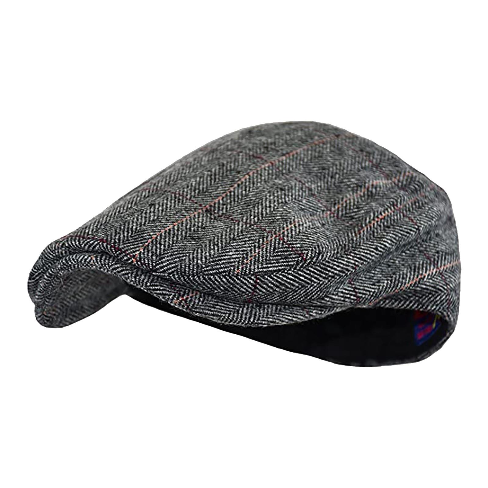 Берет твидовый в елочку для мужчин и женщин, теплая винтажная шапка-берет, Повседневный дышащий, зимний, удобный, заостренный, D4 #