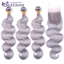 Luxediva 3PCS Body Wave Hair Bundles With Closure 4*4 Free Part 120% Swiss Lace Closure With Brazilian Human Hair Weave Bundles(China)