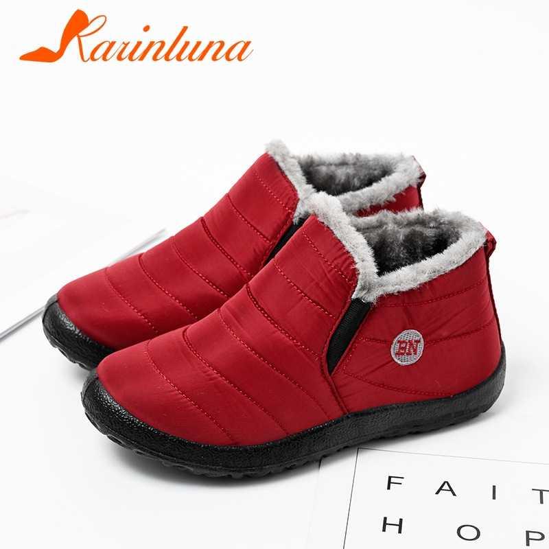 KARINLUNA Yeni Dropship 36-47 Rahat Yumuşak Kış sıcak Kürk Patik Bayanlar Düz Ayak Bileği Kar Botları Kadın Su Geçirmez ayakkabı Kadın