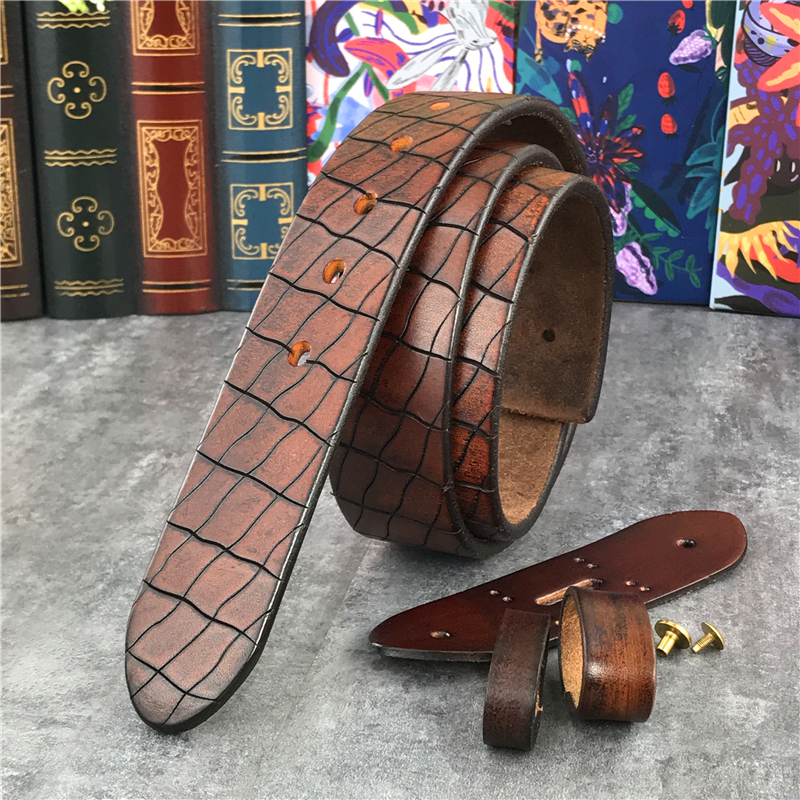 Retro Hand Carving Luxury Top Thick Leather Men Belt Without Buckle Cinturon Mujer Mens Leather Belts Without Buckles SP10