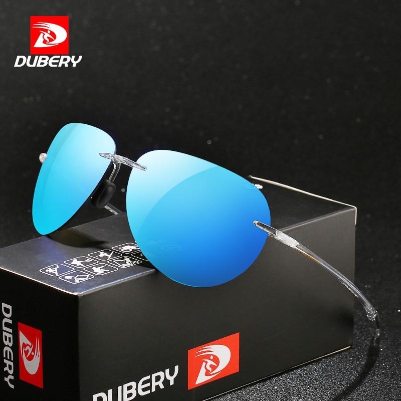 DUBERY Ultralight Rimless Sunglasses Men Crazy Colors Mirror Driving Sun Glasses Male UV Protection PC Lens Oculos de sol|Men