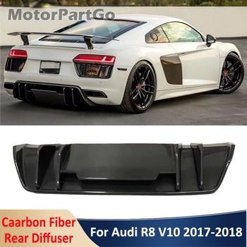 R8 Real Carbon Fiber Material Rear Lip Bumper Shovel Diffuser Car Modification Body Kit For Audi R8 V10 Coupe Tuning 2017-2018 1