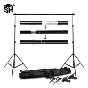 Image 1 - طقم نظام دعم خلفية حامل خلفية 2.6 متر x 3 متر 3 متر x 7 متر مع حقيبة حمل محمولة لخلفيات موسلينز والورق والقماش