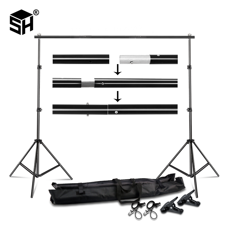 Background Stand Backdrop Support System Kit 2 6M x 3M 3M x 7M with Portable Carrying Bag for Muslins Backdrops Paper and Canvas