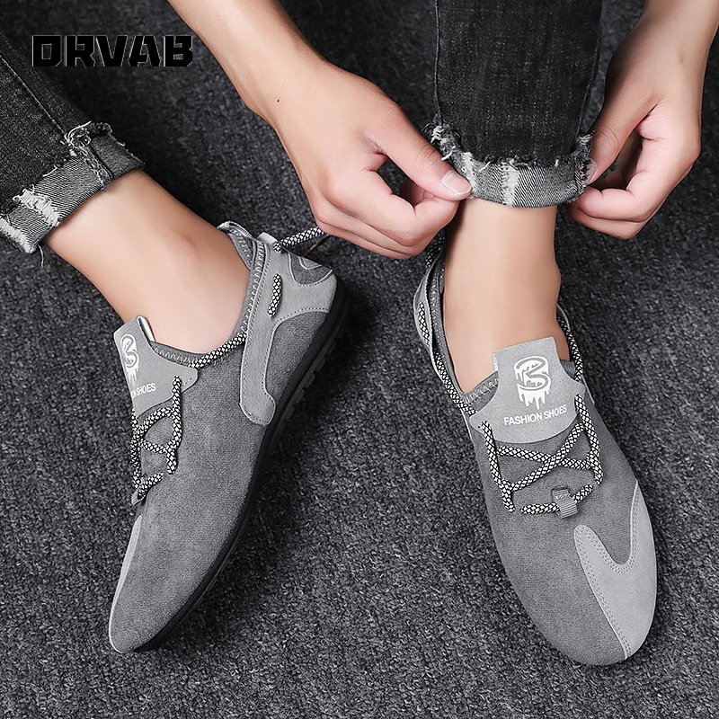 Slip on Shoes Men High Quality Spring Summer Men Casual Shoes Black Gray Flock Fashion Sneakers