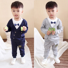 купить 1-5 years old children's clothing male autumn wear long sleeve two-piece suit children autumn new baby baby clothes дешево