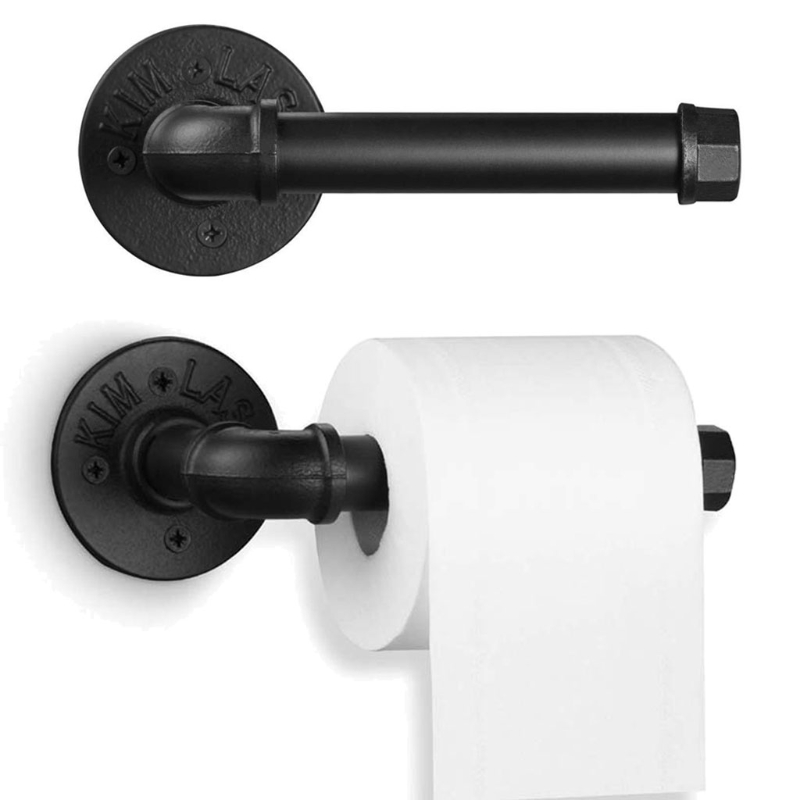 Heavy Duty Rustic Industrial Pipe Toilet Paper Holder Vintage Wall Mounted Kit F3MB