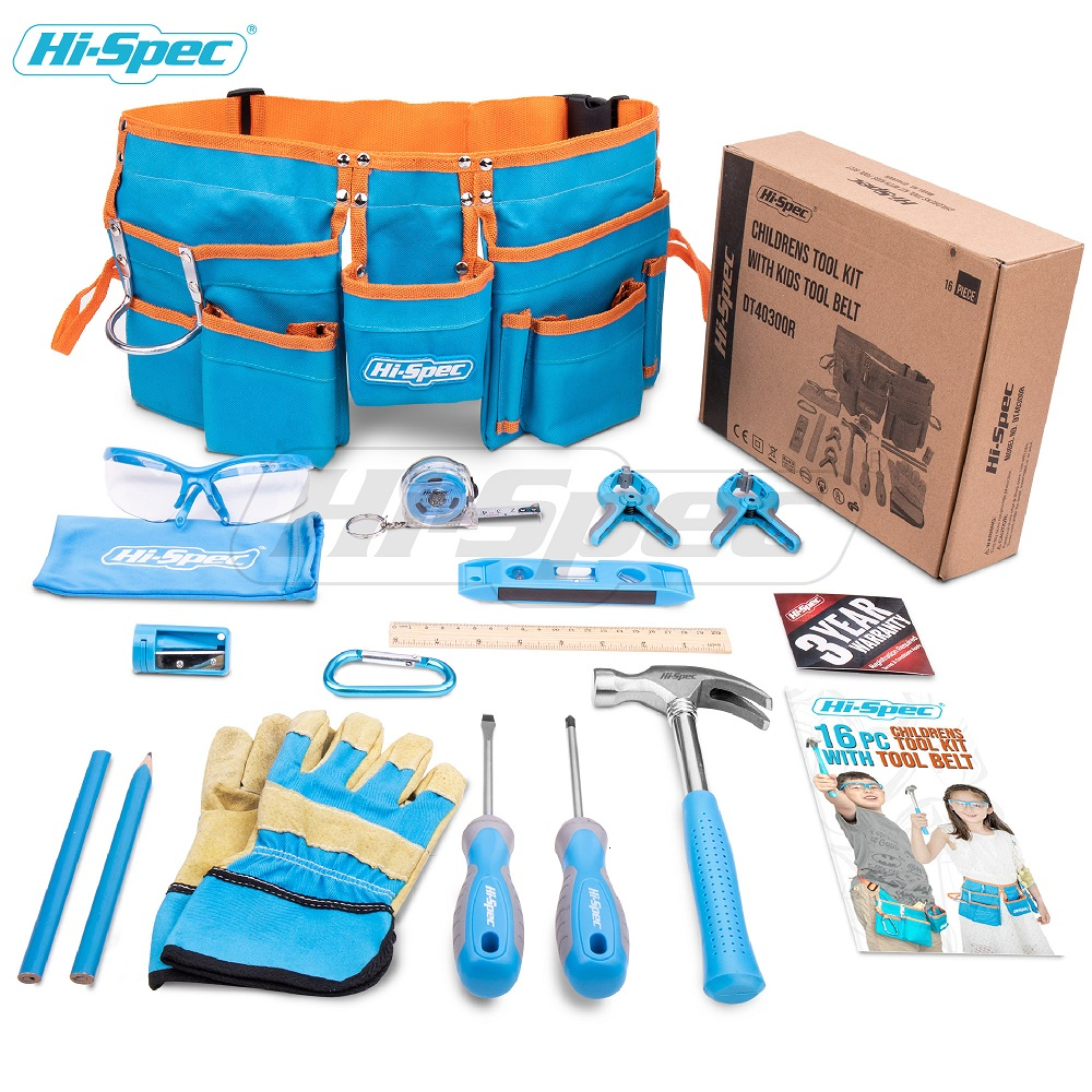 Hi-Spec My First Tool Set Real Children Kids Tool Kit Belt Waist Small Size DIY Hand Tool Set Toy Gift Tools for Kids Boys Girls