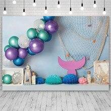Mermaid Birthday Party Princess Backdrop Baby Shower Balloon Flowers Sea Photography Background Photo Studio Photozone Photocall